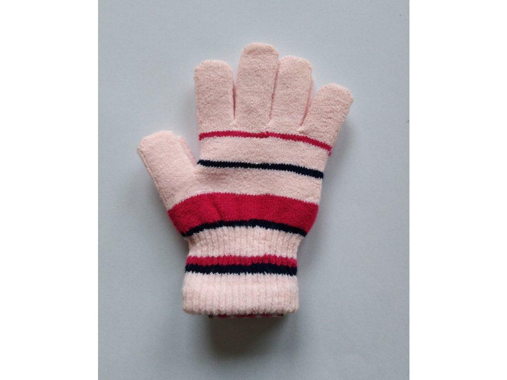RDX dětské pletené prstové rukavice pruhované růžové