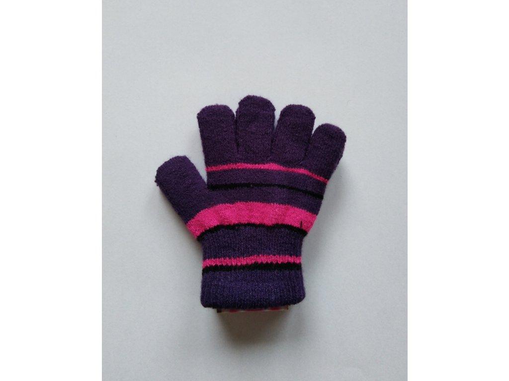 RDX dětské pletené prstové rukavice pruhované fialové