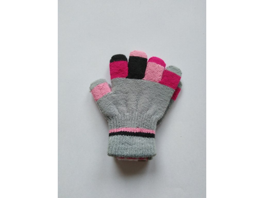 RDX dětské pletené prstové rukavice šedé prsty 2
