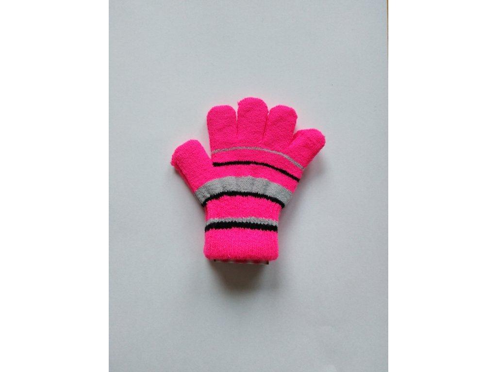 RDX dětské pletené prstové rukavice pruhované růžové fluo