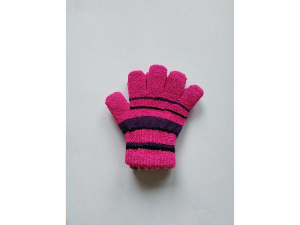 RDX dětské pletené prstové rukavice pruhované magenta