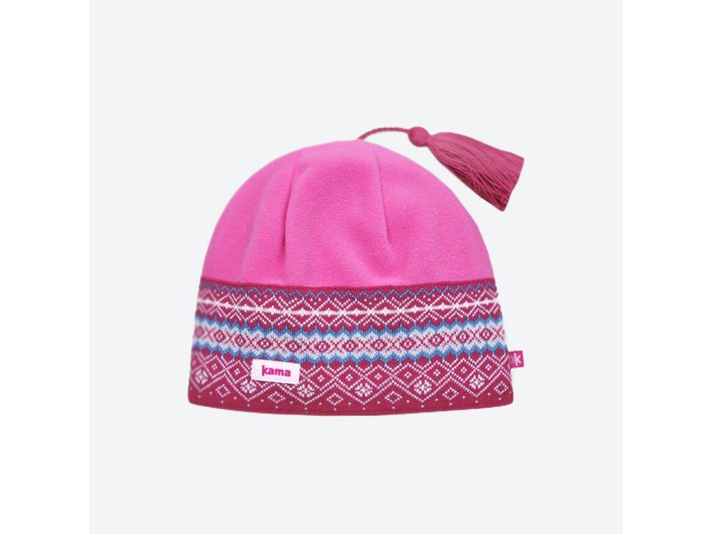 KAMA zimní čepice Merino s fleecem A42 114 růžová