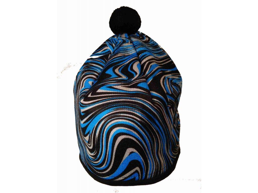 RDX zimní pletená čepice Merino 3786 modrá