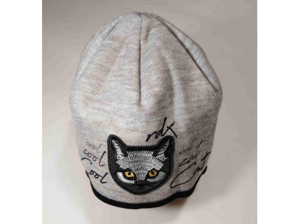 RDX zimní pletená čepice Merino 3751 kočka