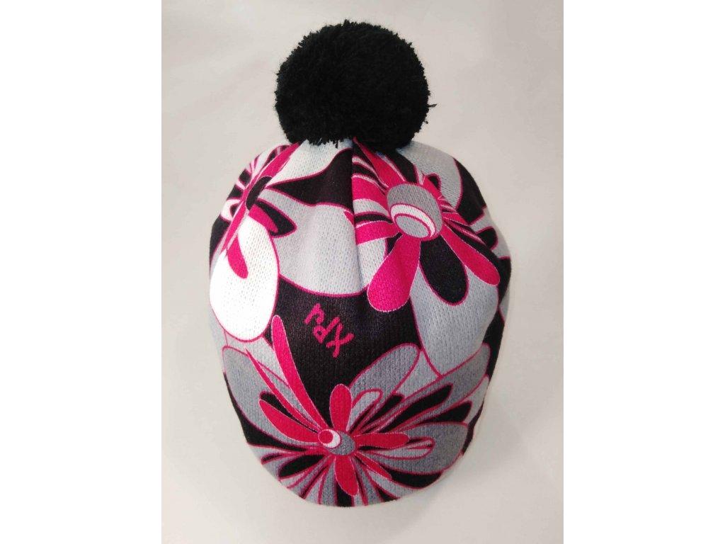 RDX zimní pletená čepice s bambulí 3390 květy