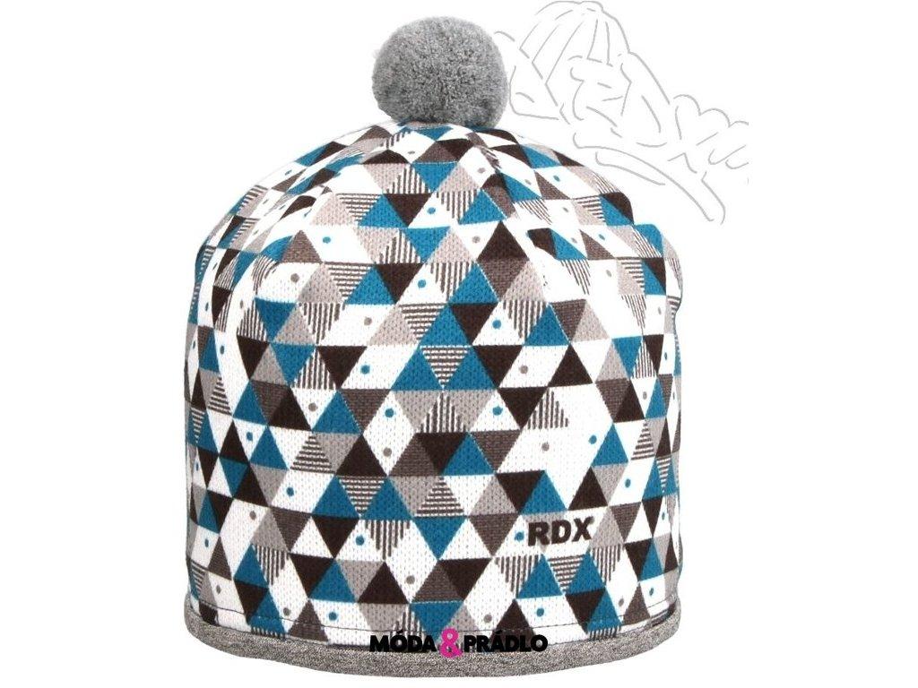 RDX zimní pletená čepice s bambulí 3670 modrá