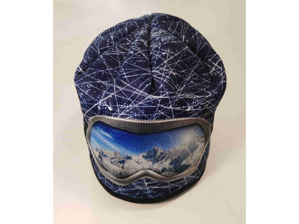 RDX zimní pletená čepice Merino 3560 brýle tm.modrá