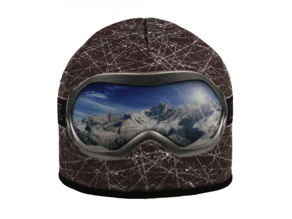 RDX zimní pletená čepice Merino 3560 brýle šedá