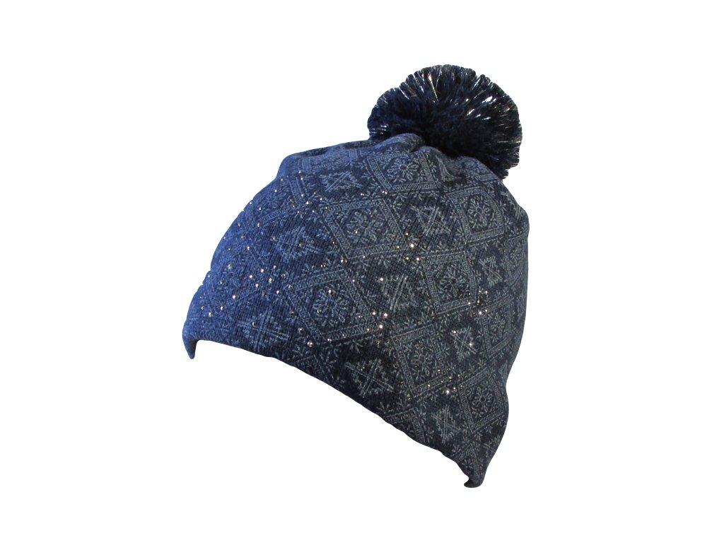 RDX zimní pletená čepice s bambulí 3600 tm.modrá