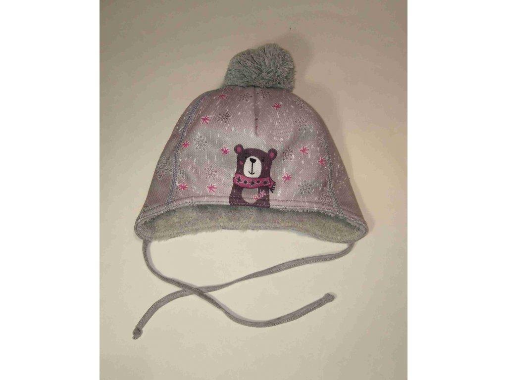RDX zimní čepice přes uši s bambulí 3697 medvěd fialový