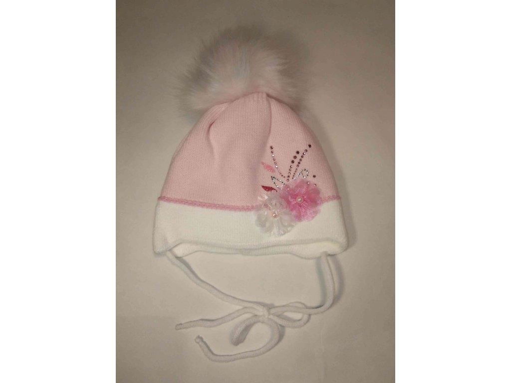 RDX zimní čepice přes uši s bambulí D551 růžová