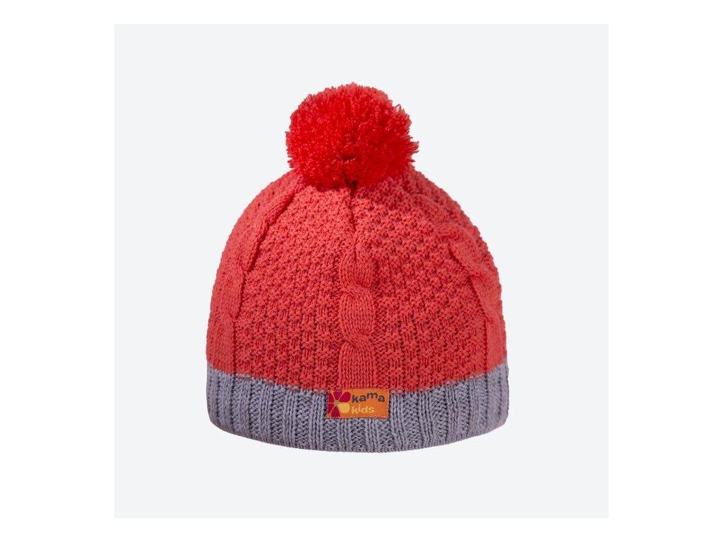 KAMA dětská pletená čepice B69 103 oranžová