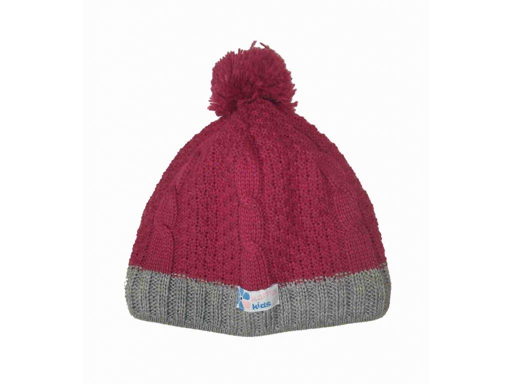 KAMA dětská pletená čepice B69 114 fialová