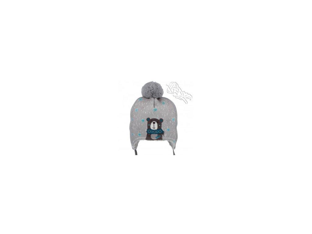 RDX zimní čepice přes uši s bambulí 3697 medvěd modrý