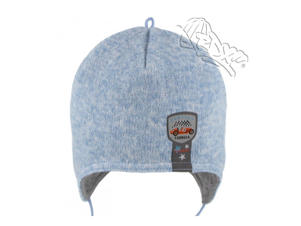 RDX zimní pletená čepice přes uši 3695 modrá