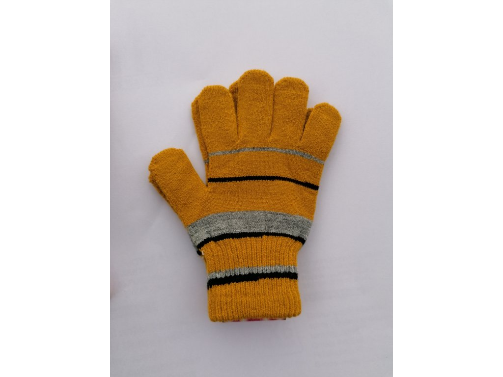 RDX dětské pletené prstové rukavice hořčicová
