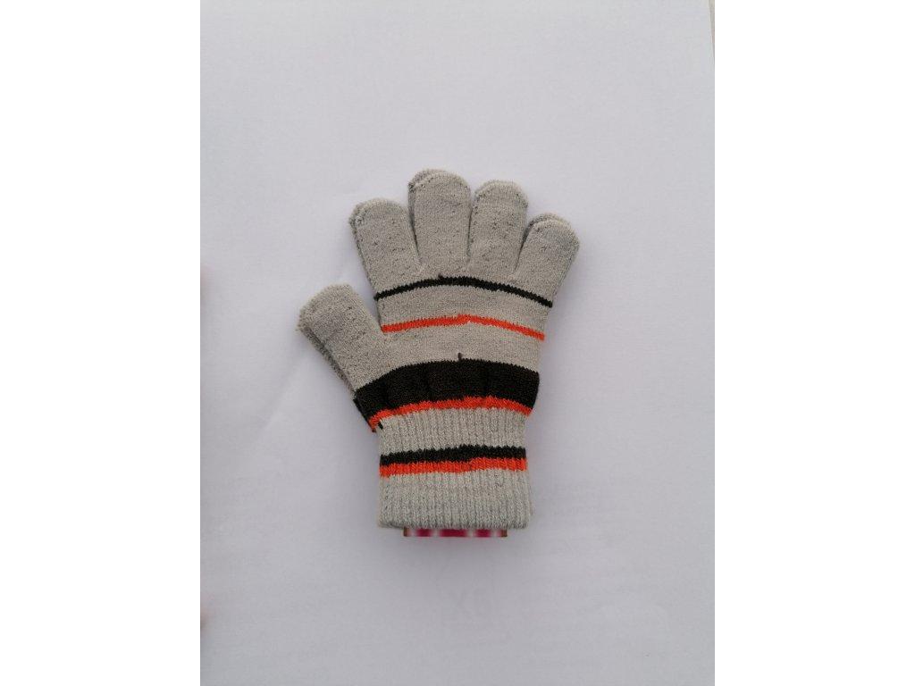 RDX dětské pletené prstové rukavice pruhované šedé