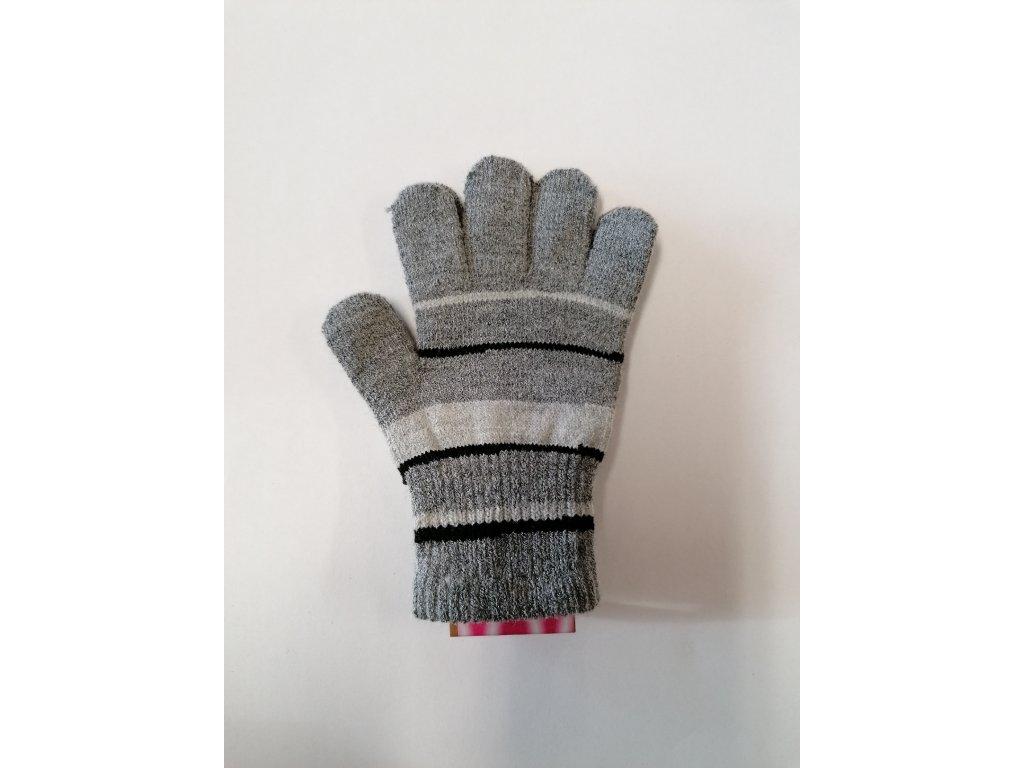 RDX dětské pletené prstové rukavice pruhované šedé 2