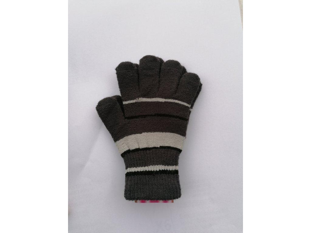 RDX dětské pletené prstové rukavice pruhované tm.šedé