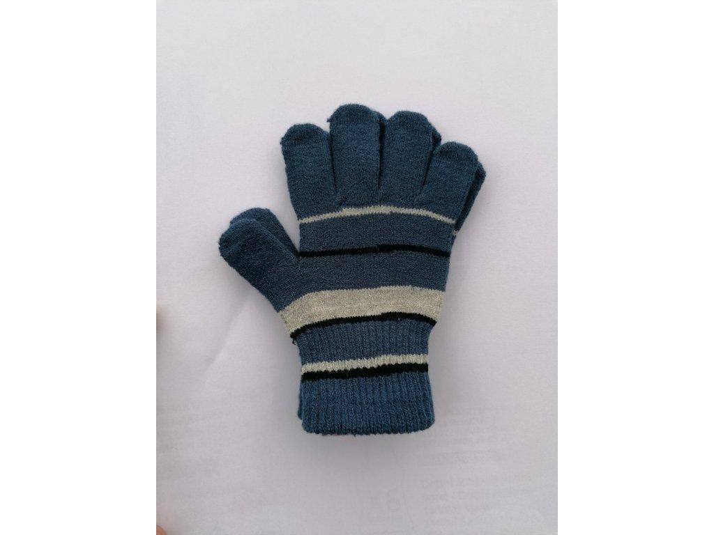 RDX dětské pletené prstové rukavice pruhované modré