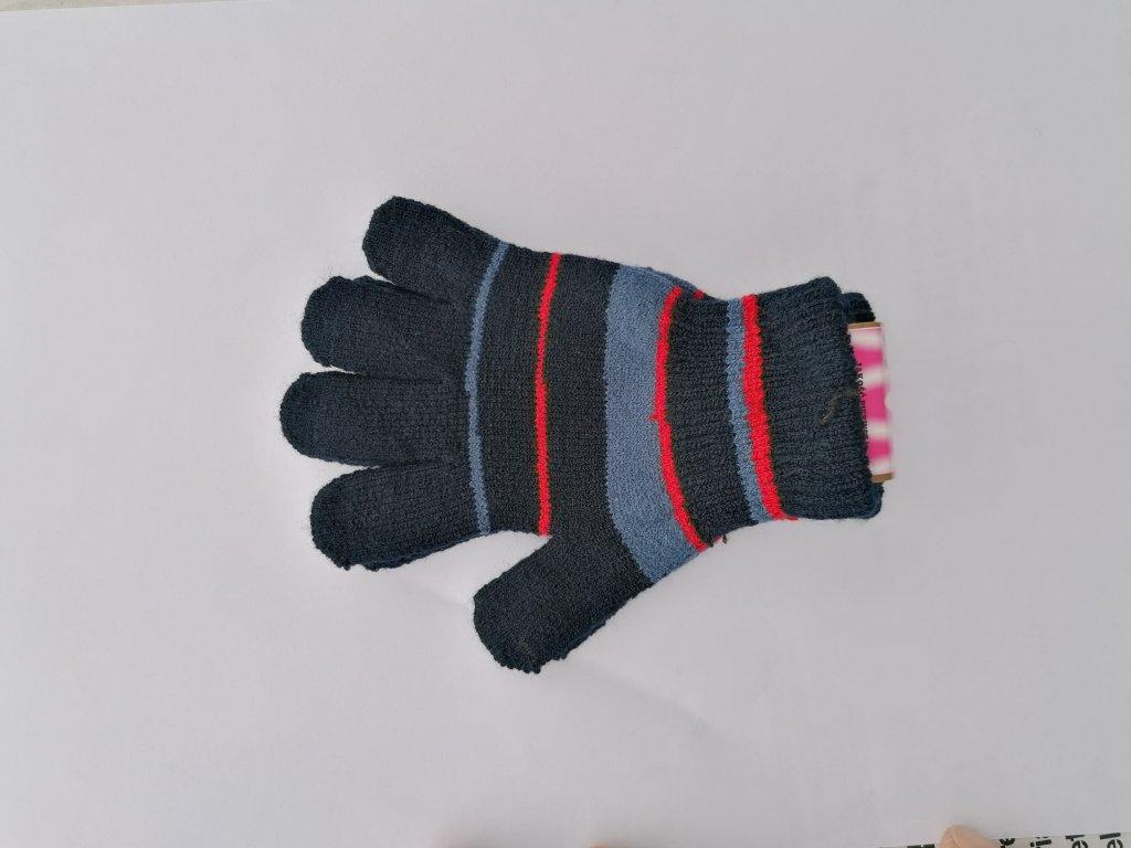 RDX dětské pletené prstové rukavice pruhované tm.modré