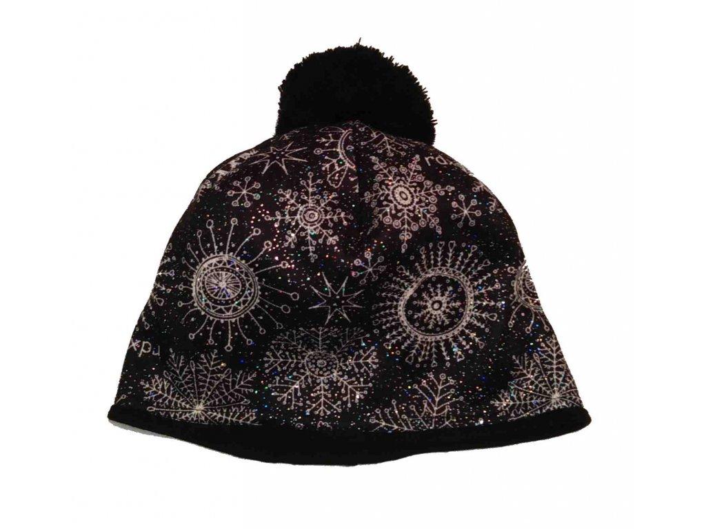 RDX zimní pletená čepice s bambulí 3796 třpytivá černá