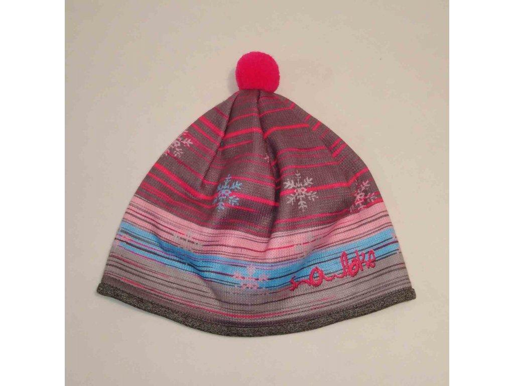 RDX zimní pletená čepice s bambulí 3684 magenta
