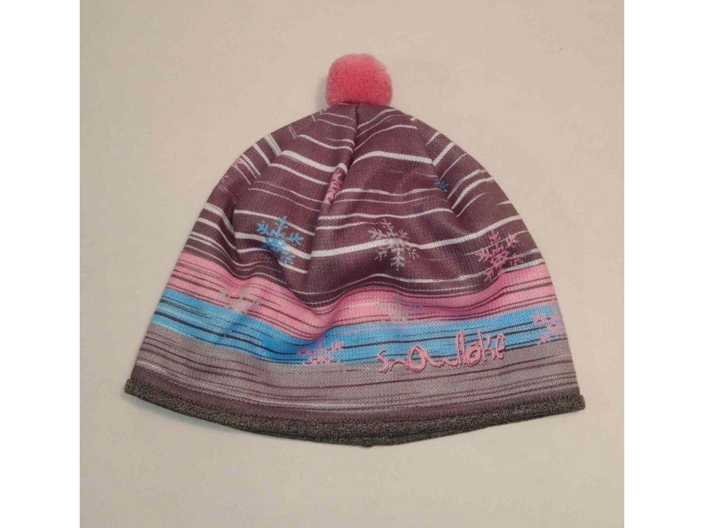 RDX zimní pletená čepice s bambulí 3684 růžovo modrá