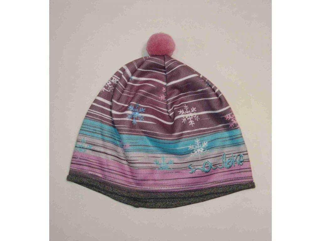 RDX zimní pletená čepice s bambulí 3684 růžovo tyrkysová