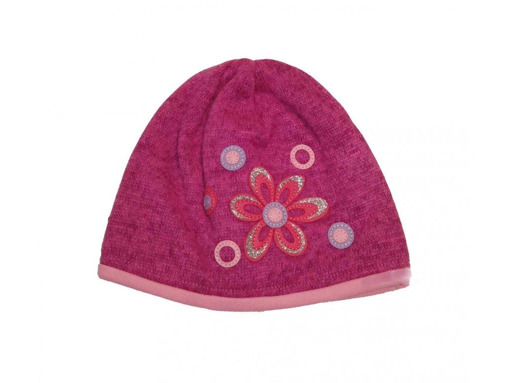 RDX zimní pletená čepice 3456 růžová s růž.květinkou