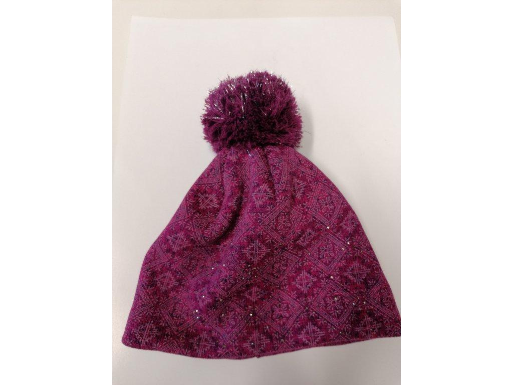 RDX zimní pletená čepice s bambulí 3600 lila