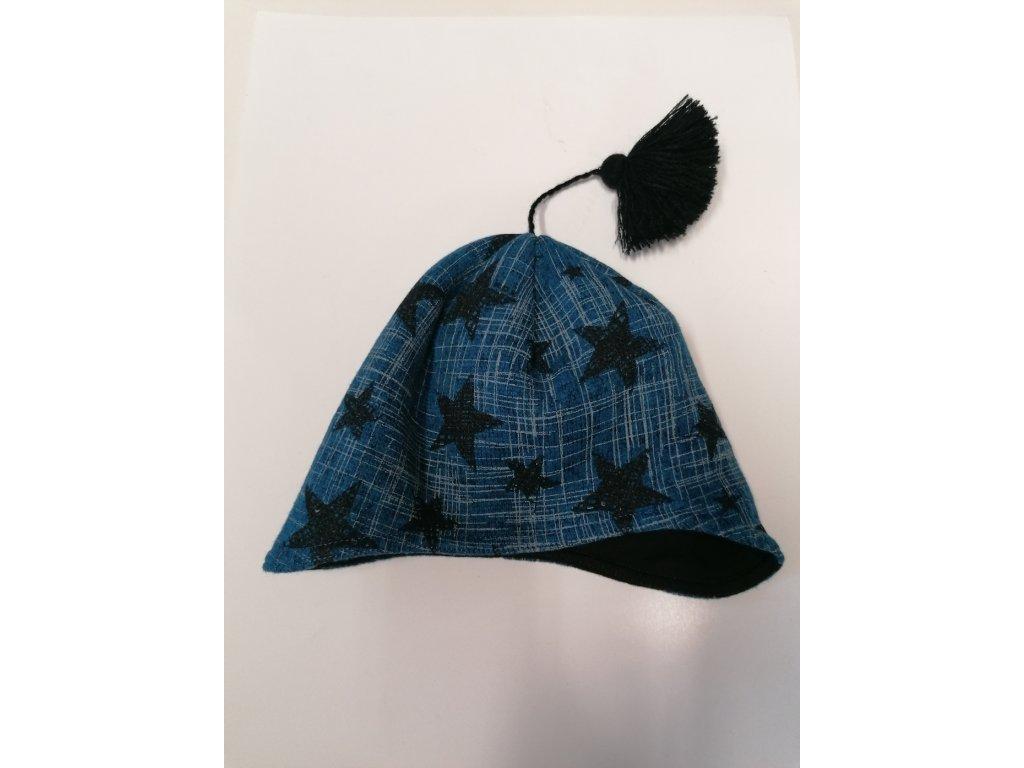 RDX zimní pletená čepice Merino přes uši 3479 modrá
