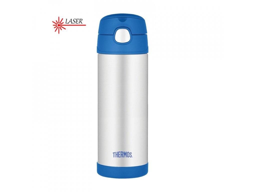 Thermos FUNtainer Dětská termoska s brčkem 470ml - nerez modrá