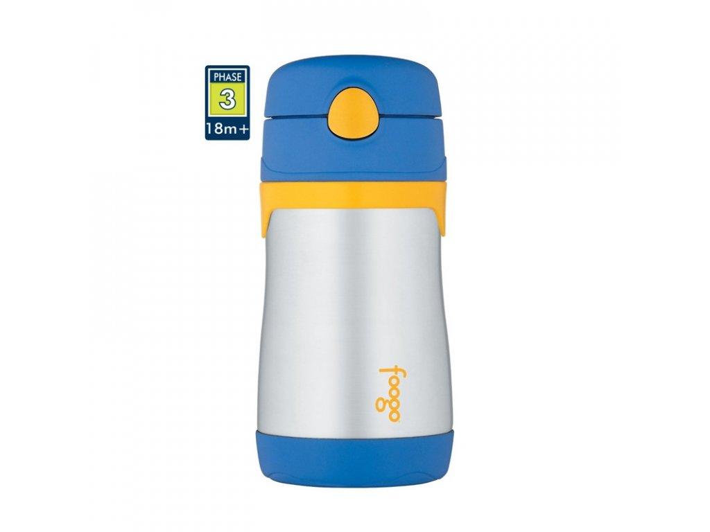 Thermos FOOGO Kojenecká termoska s brčkem 290ml - modrá