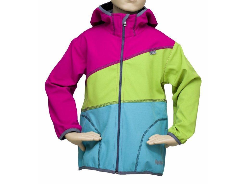 FANTOM Dětská bunda SOFTSHELL trojbarevná-světle tyrkysovo limetkovo růžová