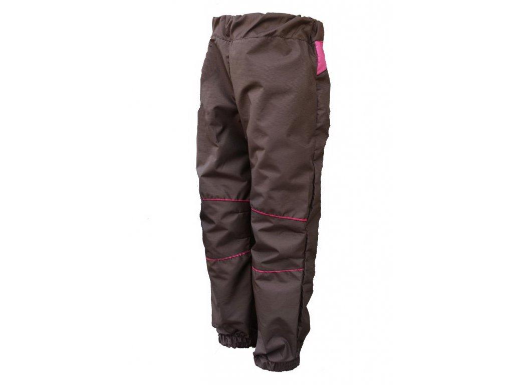 KUKADLOO Dětské šusťákové kalhoty hnědo-malinová