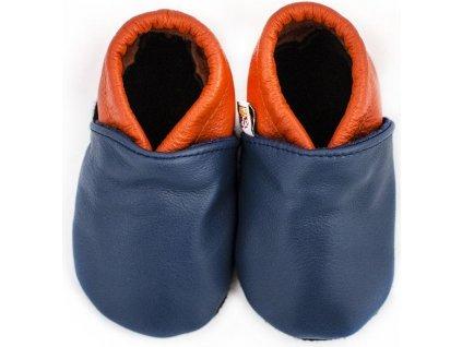 Afelo Kožené capáčky dvoubarevné modro oranžové