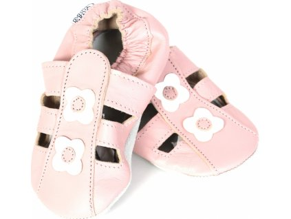 Capiky Kožené capáčky sandálky růžové