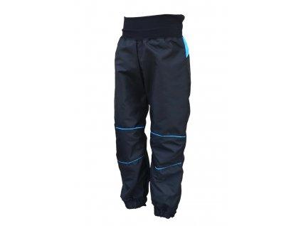 KUKADLOO Dětské šusťákové kalhoty černo tyrkysové
