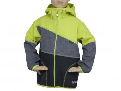 FANTOM Dětská bunda sofshell černo melír zelenožlutá