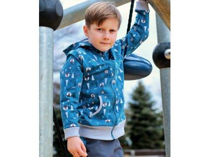 KUKADLOO Dětská tepláková mikina na zip / aqua-modrá