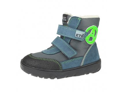 KTR 012A dětské zimní membránová bota Jeans+popel+zelená FL