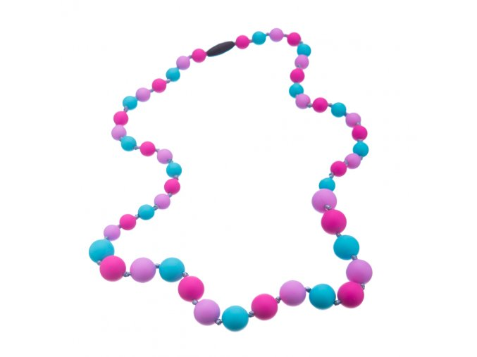 Silikonové kojící korále růžovo-lila-tyrkys