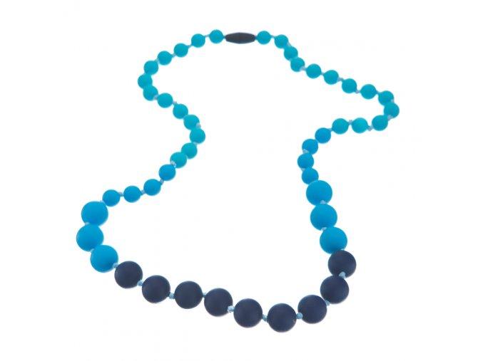 Silikonové kojící korále námořnická modř-modrá-tyrkys