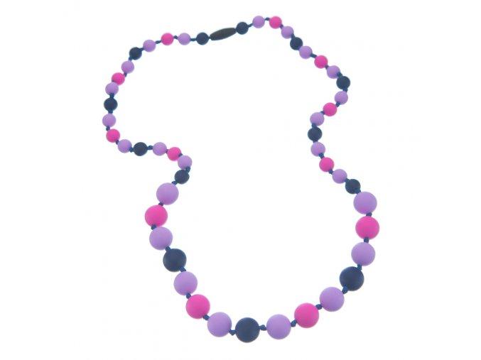 Silikonové kojící korále námořnická modř-lila-růžová