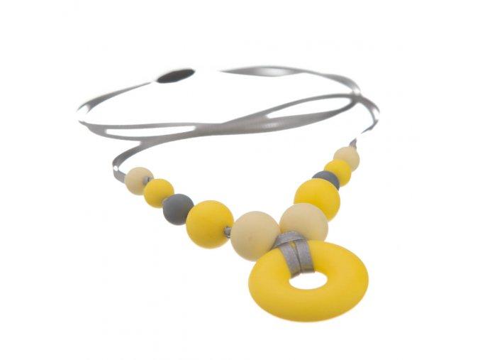 Limit. silikonový kojící přívěšek pastel.žlutá-šedá-žlutá