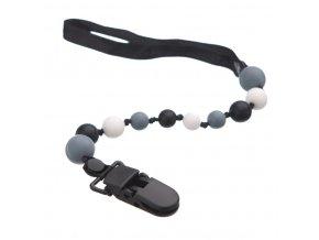 silikonový klip na dudlík černá-šedá-bílá