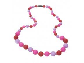 Silikonové kojící korále červeno-růžovo-lila