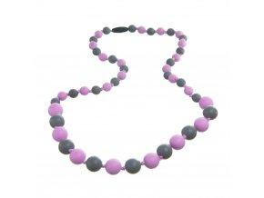 Silikonové kojící korále lila-šedá