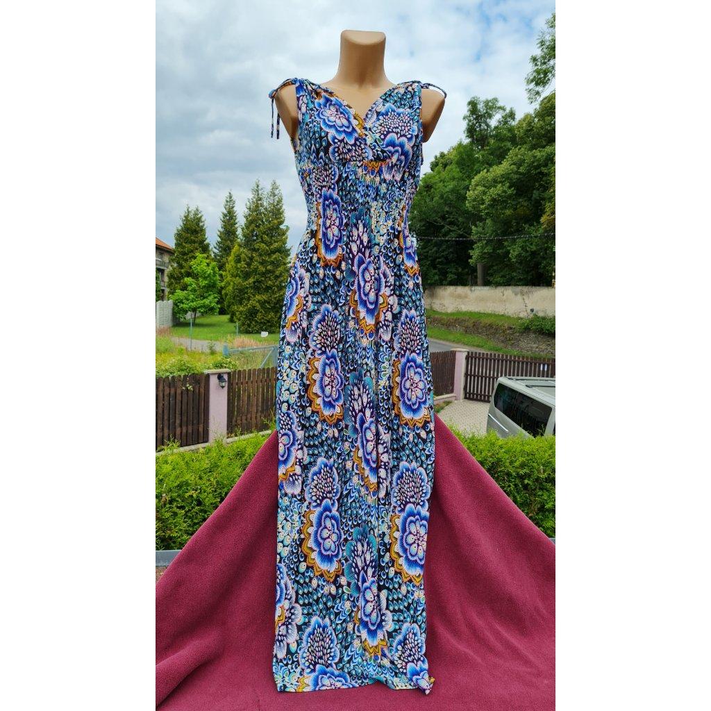 Dámské letní dlouhé šaty 9916 oblý vzor - modré